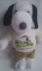 Adorable Rare Vintage Big 1968 'Come Hike with Me!' Snoopy fully clothed Plush Toy